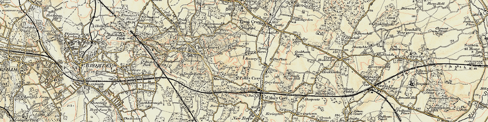Old map of St Paul's Cray in 1897-1902