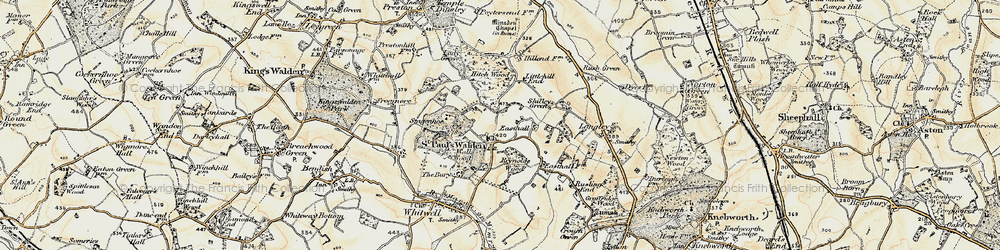 Old map of St Paul's Walden in 1898-1899
