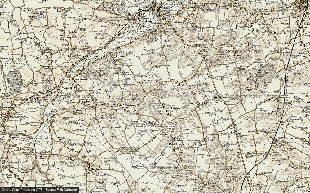 Old Map of St Peter South Elmham, 1901-1902 in 1901-1902