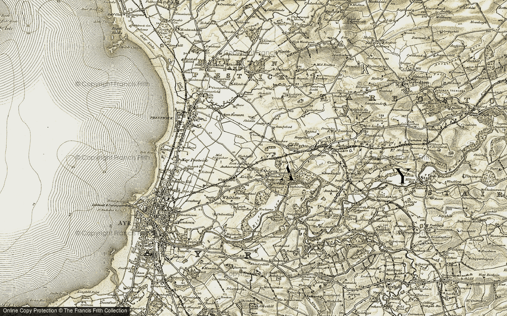 Old Map of Historic Map covering South Scotland in 1904-1906