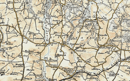 Old map of St Stephen in 1900