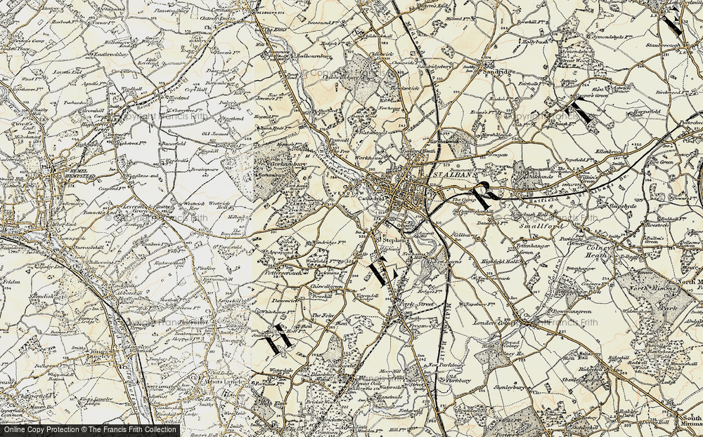 Old Map of Historic Map covering Abbey Sta in 1898