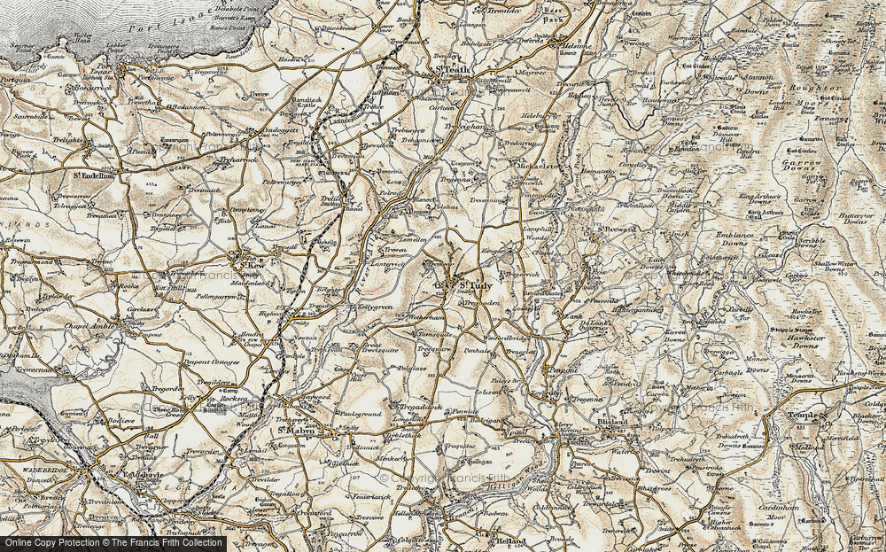 Old Map of Historic Map covering Tinten Manor in 1900