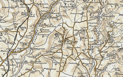 Old map of Lanterrick in 1900