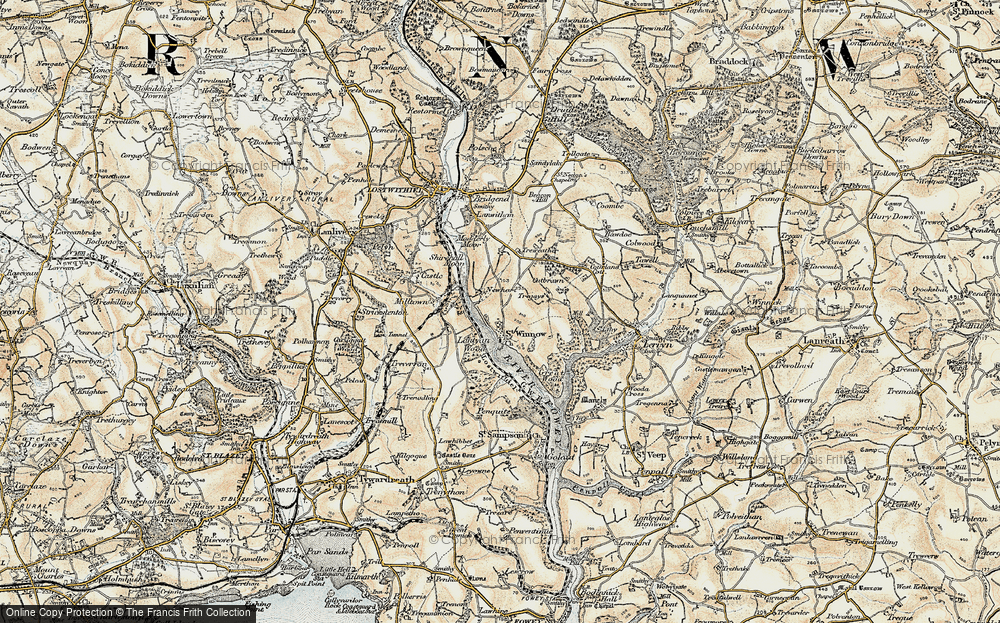 Old Map of Historic Map covering Lantyan Wood in 1900