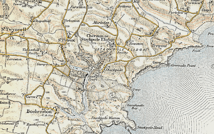Old map of Stackpole in 1901-1912