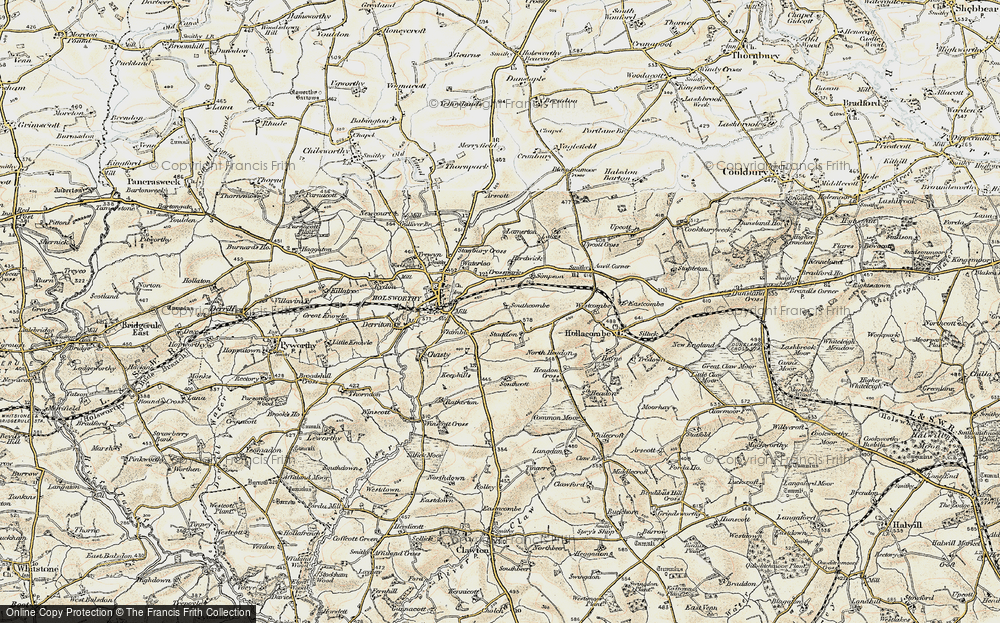 Old Map of Historic Map covering Arscott in 1900