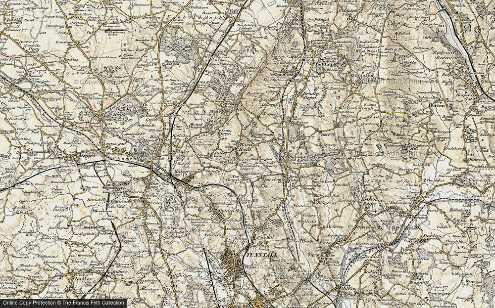 Old Map of Historic Map covering Thursfield Lodge in 1902-1903