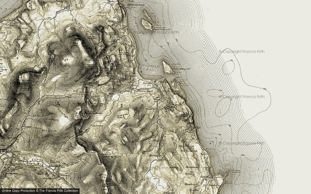 Old Map of Historic Map covering Tobar Cleap in 1908-1909
