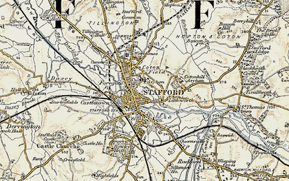 Old map of Stafford in 1902