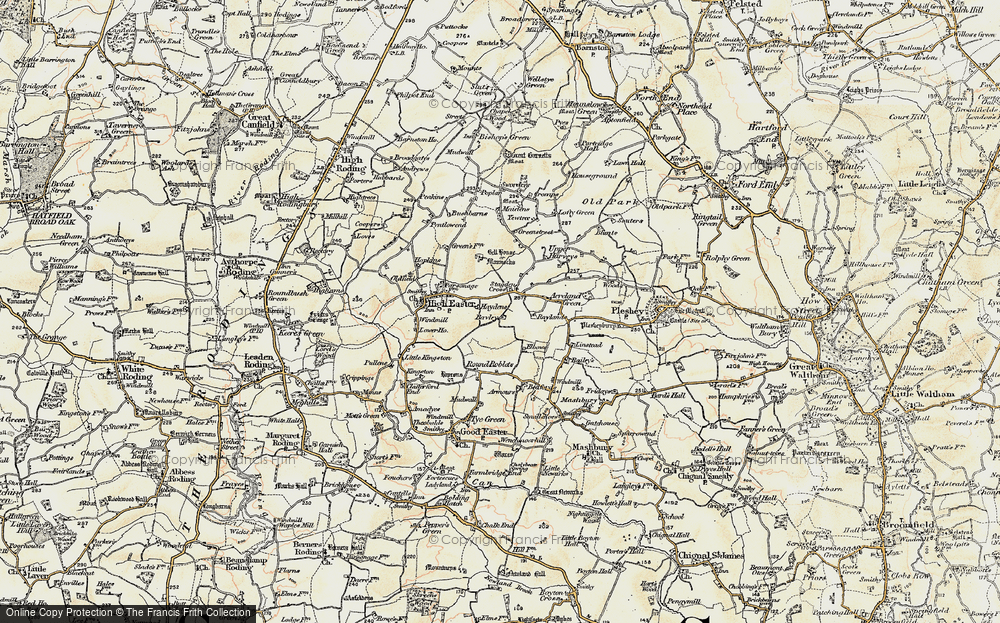 Old Map of Historic Map covering Acreland Green in 1898-1899
