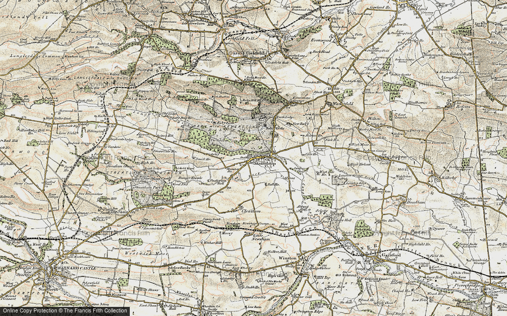 Old Map of Historic Map covering Alwent in 1903-1904