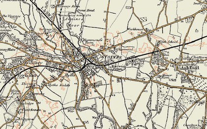 Old map of Staines in 1897-1909