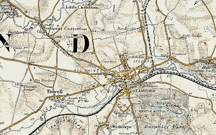 Old map of Stamford in 1901-1903