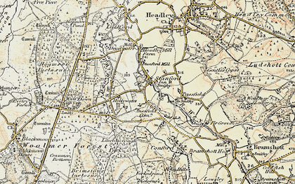Old map of Linchborough Park in 1897-1909