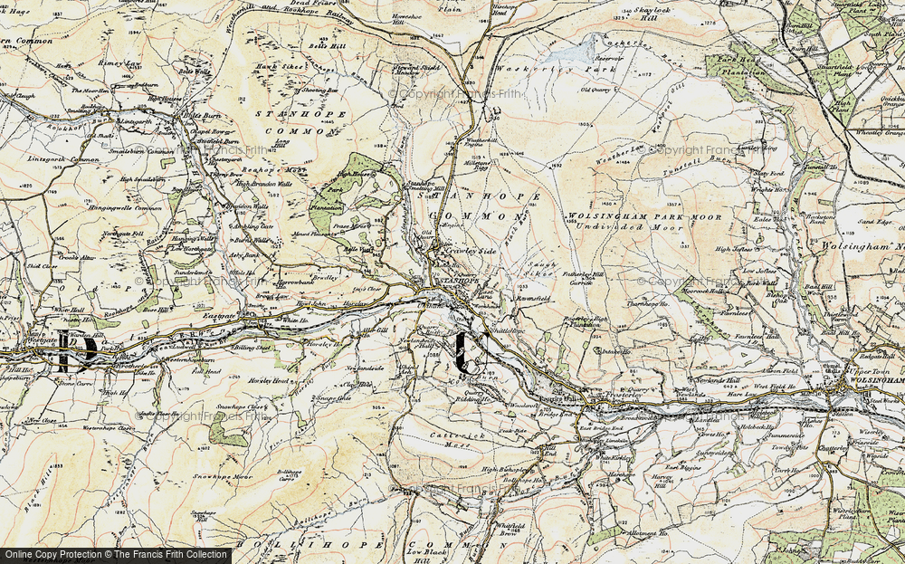 Old Map of Historic Map covering Ashes Ho in 1901-1904