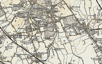 Old map of Stanmore in 1897-1898