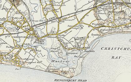 Old map of Hengistbury Head in 1899-1909