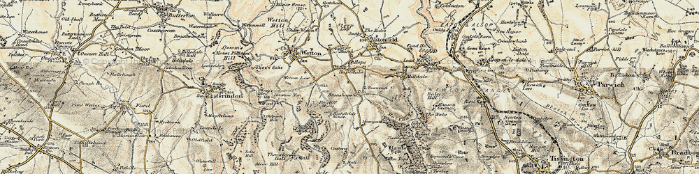 Old map of Wetton Low in 1902-1903