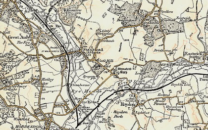Old map of Stanstead Abbotts in 1898