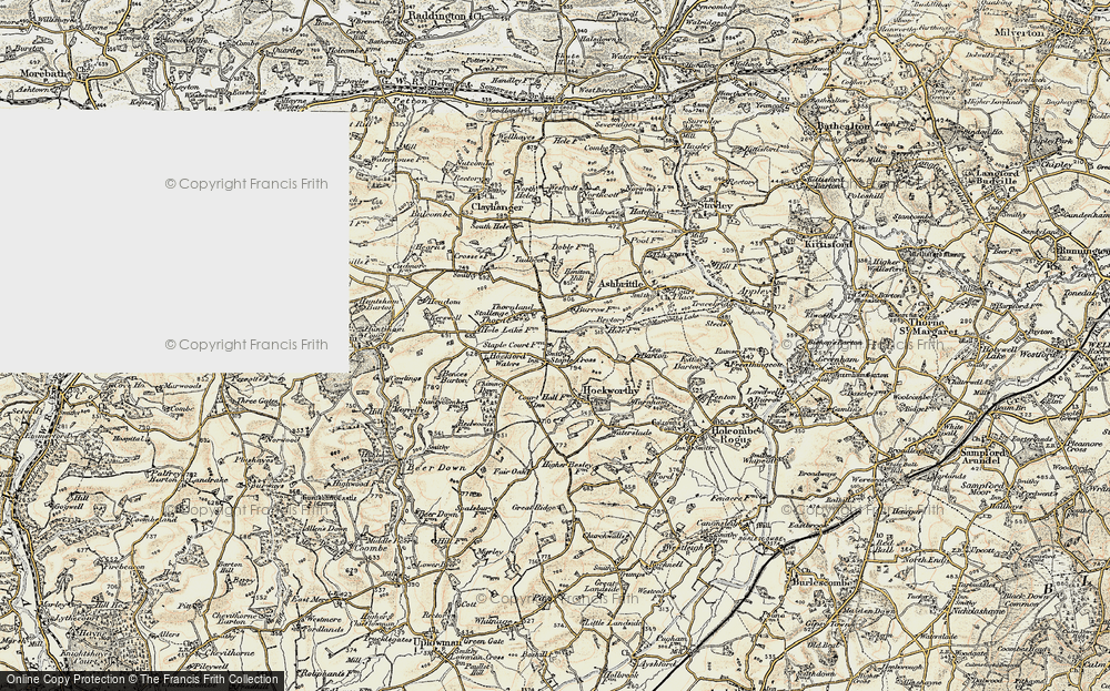 Old Map of Historic Map covering Lea Barton in 1898-1900