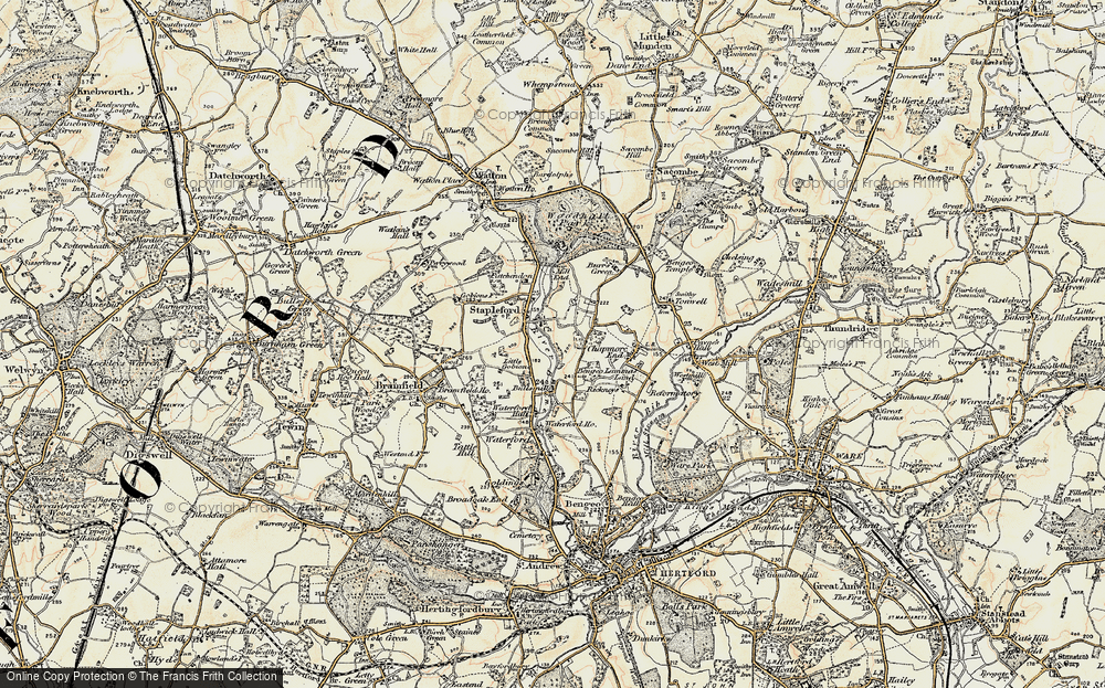 Old Map of Historic Map covering Woodhall Park in 1898-1899