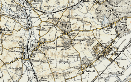 Old map of Stapleford in 1902-1903