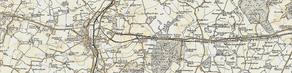 Old map of Start Hill in 1898-1899