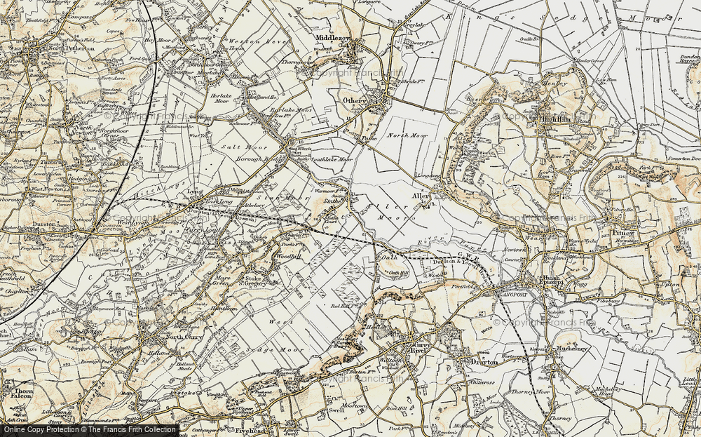 Old Map of Historic Map covering Aller Moor in 1898-1900
