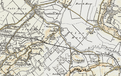 Old map of Aller Moor in 1898-1900