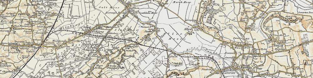 Old map of Aller Moor in 1898-1900