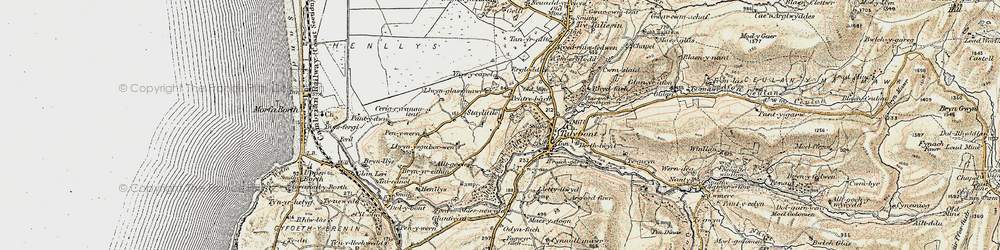 Old map of Ynysycapel in 1902-1903