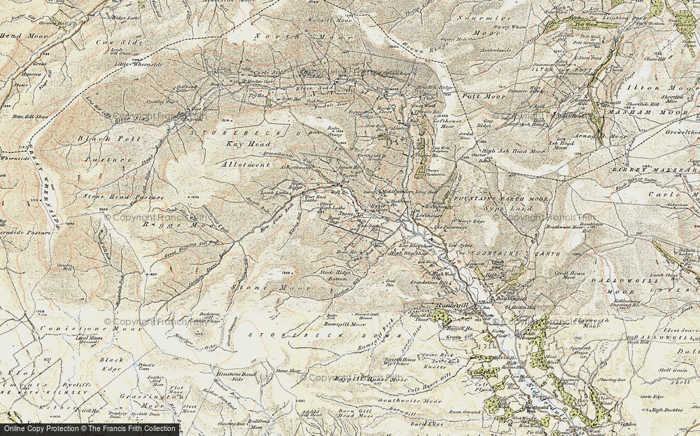 Old Map of Historic Map covering Backstean Gill in 1903-1904