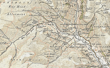 Old map of Backstean Gill in 1903-1904