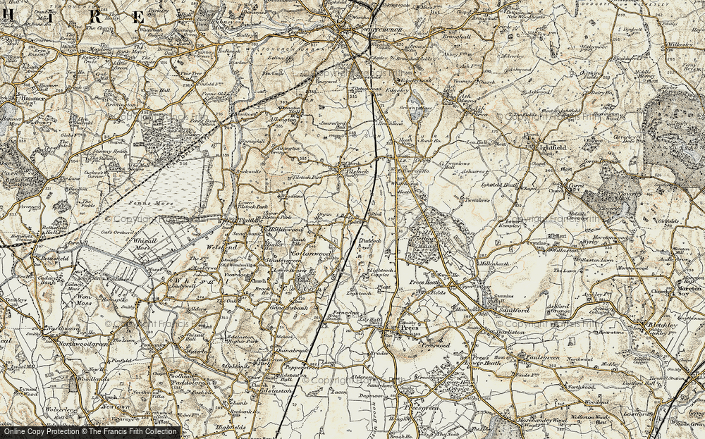 Old Map of Historic Map covering Lighteach Coppice in 1902