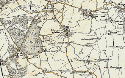 Old map of Steeple Ashton in 1898-1899