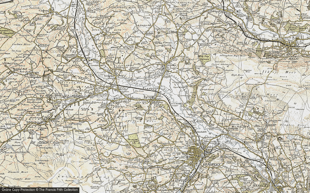 Old Map of Historic Map covering Airedale in 1903-1904