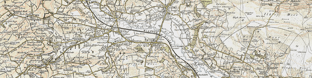 Old map of Airedale in 1903-1904
