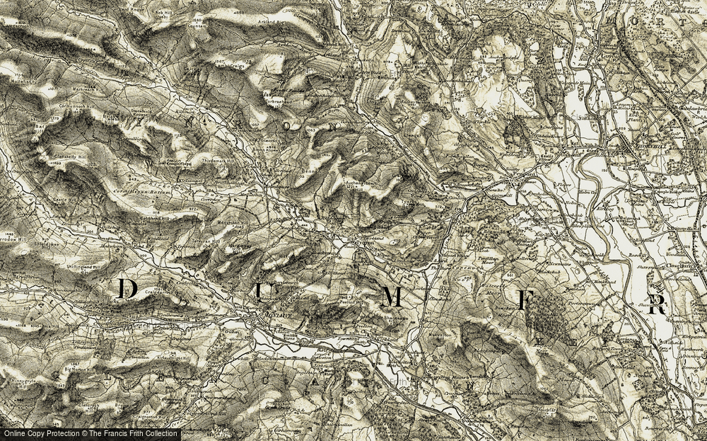 Old Map of Historic Map covering Auchengibbert in 1904-1905