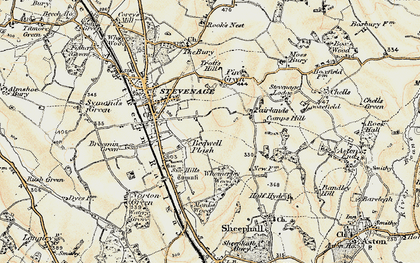 Old map of Stevenage in 1898-1899