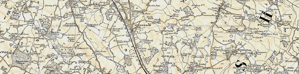 Old map of Stevenage in 1898-1899