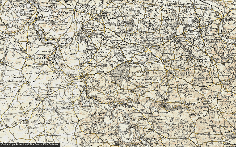 Old Map of Historic Map covering Allin's Week in 1899-1900