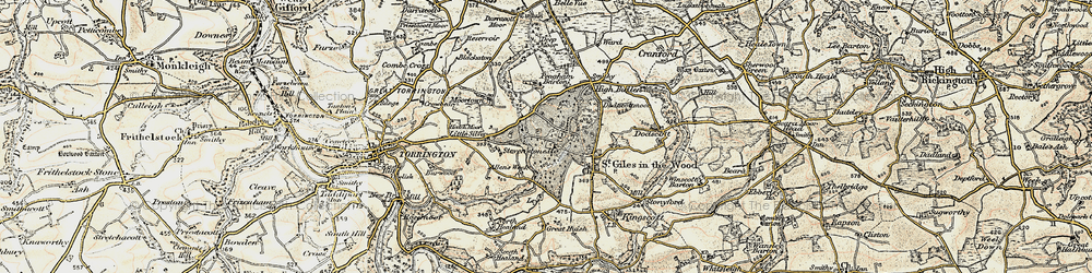 Old map of Allin's Week in 1899-1900