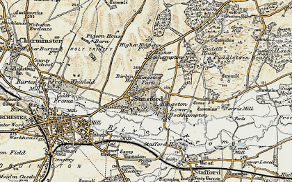 Old map of Stinsford in 1899-1909