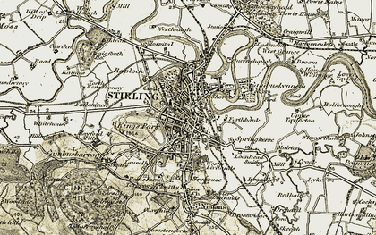 Old map of Stirling in 1904-1907