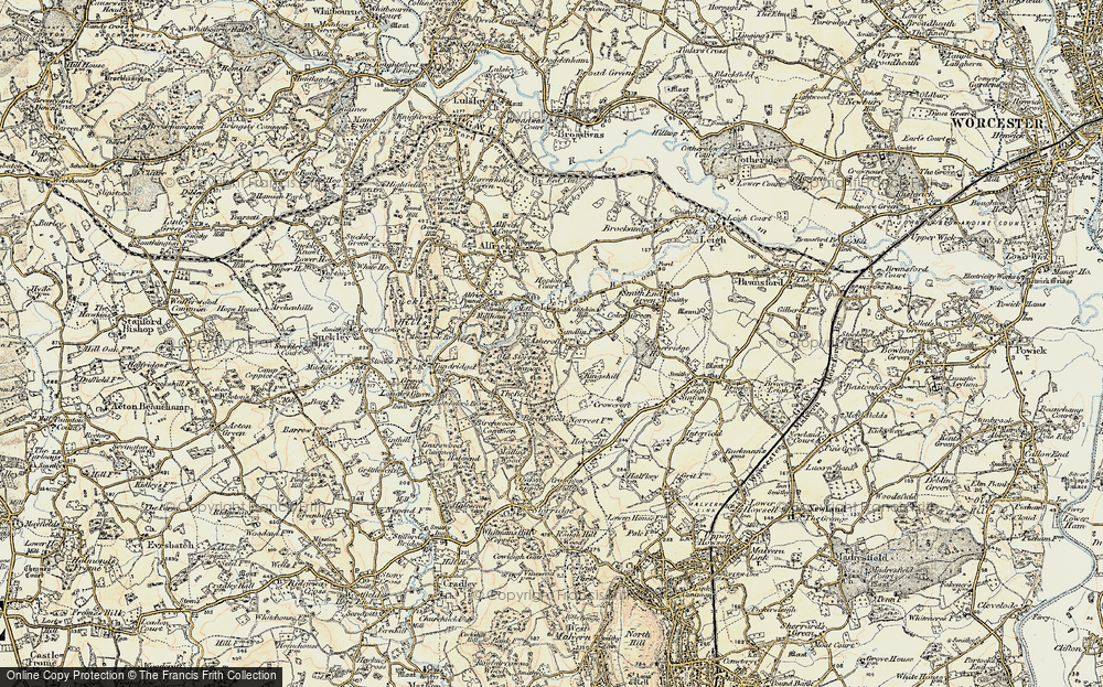 Old Map of Historic Map covering Ashcroft Ho in 1899-1901