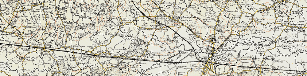 Old map of Tips Cross in 1897-1898