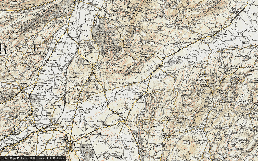 Old Map of Historic Map covering Aylesford Brook in 1902-1903