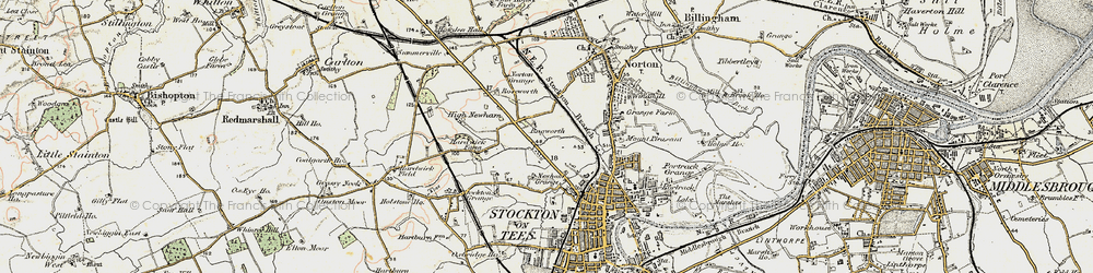 Old map of Stockton-on-Tees in 1903-1904