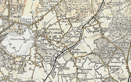 Old map of Stoke D' Abernon in 1897-1909